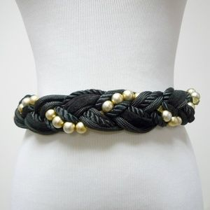 Accessories - VTG 80s Black and Gold wide cord belt